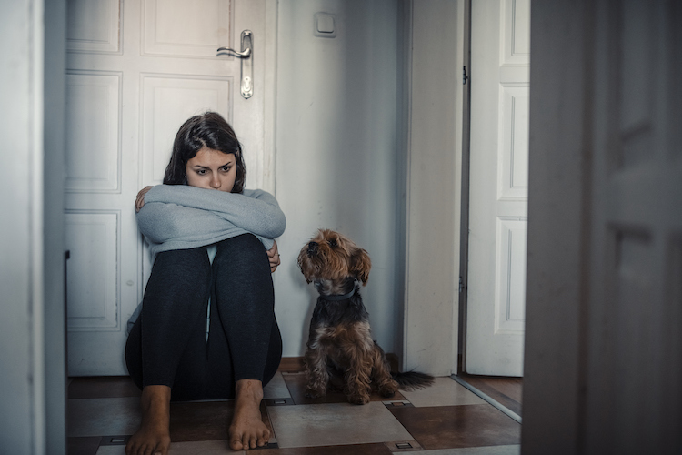 Woman with mental health problems is sitting desperate on the floor and  crying and her dog is next to her